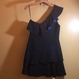 Black cocktail dress with blue strip